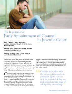 The Importance of Early Appointment of Counsel in Juvenile Court