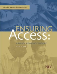 "Cover shot of ""Ensuring Access"" showing a youth person and an adult looking at something together"