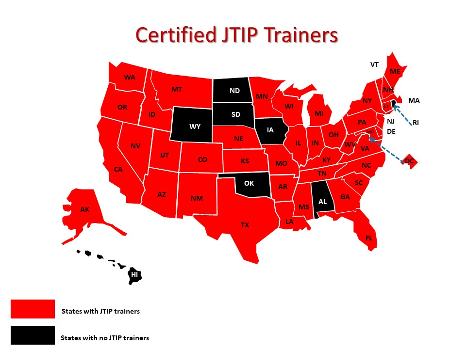 Map showing the states in which there are Certified JTIP Trainers